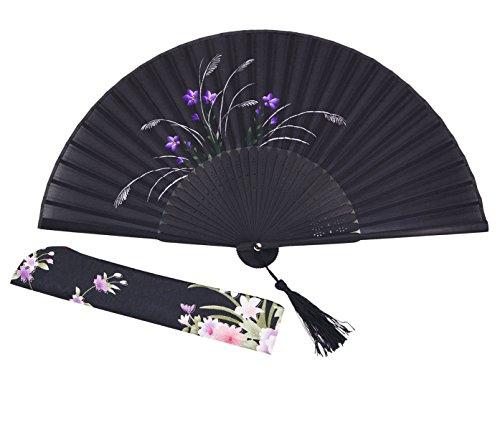 Meifan Chinese/Japanese Vintage Retro Style Handheld Folding Fan FML (Black)