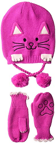 Kidorable Little Girls'  Lucky Cat Gloves, Magenta Pink, Medium