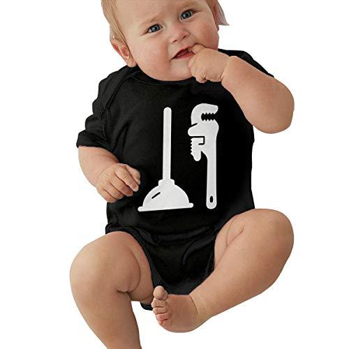 (PA2PAFU Plumbing Tools Baby Clothes Newborn Boys Girls Short-Sleeve Romper Jumpsuits Black)