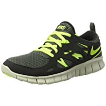 nike free run 2 (GS) running trainers 443742 sneakers shoes (uk 4.5 us 5Y eu 37.5, dark mica green volt black 301)