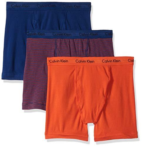 Calvin Klein Men's Cotton Stretch Multipack Boxer Briefs, Dark Night Stripe/Spicy Orange, S