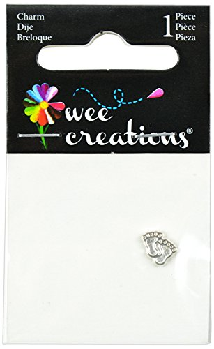 Wee Creations 1-Piece Baby Feet Charm, Silver