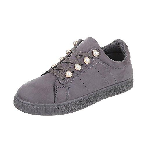 Ital-Design Sneakers Low Damenschuhe Sneakers Low Sneakers Schnürsenkel Freizeitschuhe Grau