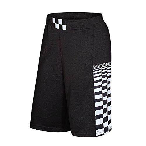(Men's Summer Shorts Sweatband Trunks Breathable Fitness Beach Sport Running Loose Pants Black)