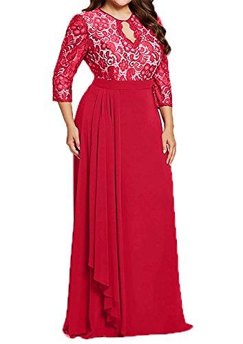 Brautmutterkleider Lang Braut Uebergroesse Rot Abendkleider mia La Langarm Ballkleider Promkleider Festlich zqXAw54C