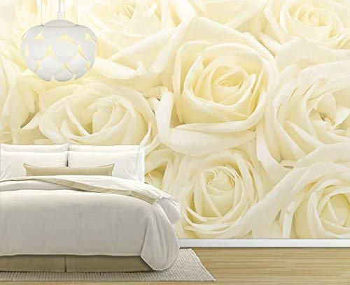 Soft Yellow Rose Pattern Pastel Wall Mural