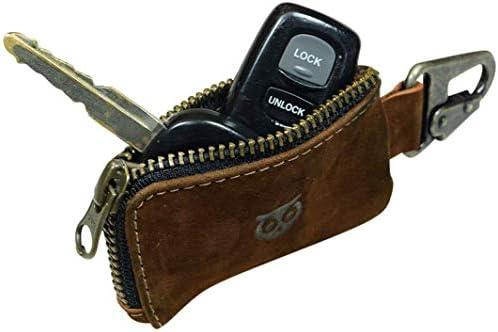 車のキーケース、レザーカーキーホルダーヘッドホンの充電ケーブルメモリーカードフラッシュは、クラスプ手作りのスエードで現金ジッパーケースをドライブ