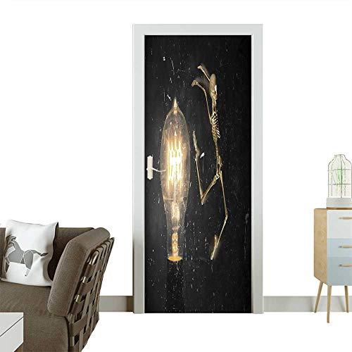 Door Sticker Horrifying Vintage Halloween Themed Skeleton Jumping Past Lightbulb Removable Door Decal for Home Decor W31 x H79 -