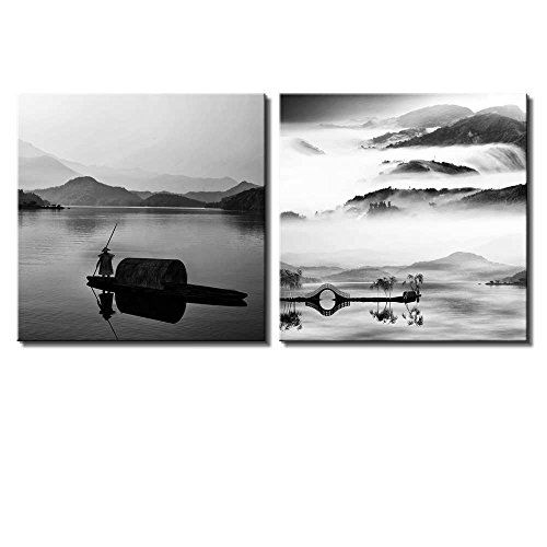 Two Piece Black and White Lake Looking Over a Beautiful Mountain View on 2 Panels
