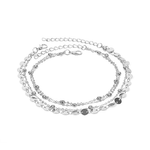 kaifongfu Women Anklet Bracelet Adjustable Chain Foot Beach Jewelry (Silver)