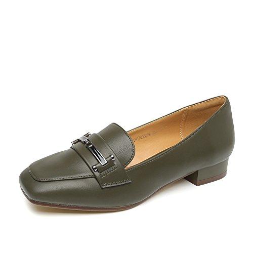 PUMPS Lady Kitten Heel,Thick Heel Square Cap Foot Schuhe-A Fußlänge=22.3CM(8.8Inch)