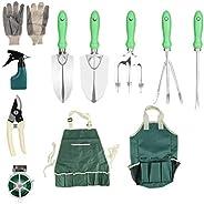 Conjunto de ferramentas de jardinagem, 11pcs Conjunto de ferramentas de jardim com sacola de jardinagem Kit de