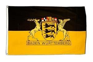 FahnenMax–Bandera de Alemania Baden-Wurtemberg (con gran País sello + Gratis Pegatinas, Flaggenfritze–Bandera, Hissflagge 90 x 150 cm