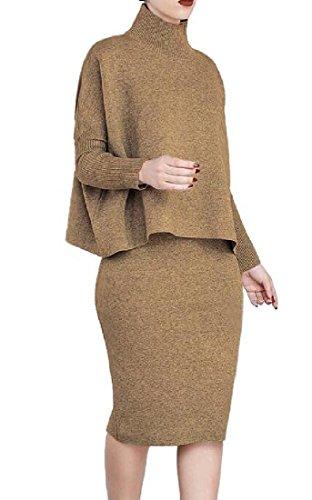 Two Sleeve Dress Piece Neck Dress Long Crew Coolred Suit Women Brown Club 5nAXzwqfF