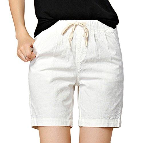 rawstring Casual Loose Elastic Waist Bermuda Beach Shorts (White, US 8 Medium) ()