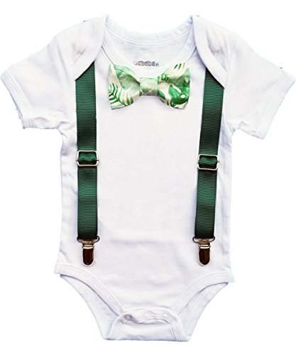 Noah's Boytique Newborn Boy Coming Home from The Hospital Outfit Summer Palm Tropical Luau Party Outfit Bow Tie and Suspenders Newborn -