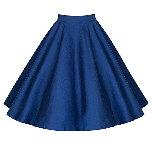 Mujer Vintage Floral Swing Full Circle Casual Falda Corto Retro Vestidos Azul