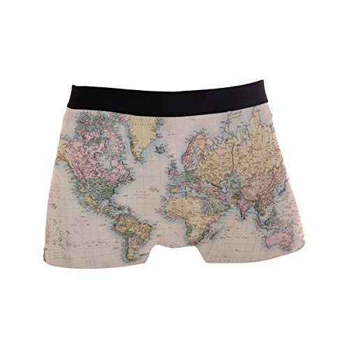 Old Hand Coloured Map of World Men's Boxer Briefs Underwear Comfortable Underpants]()