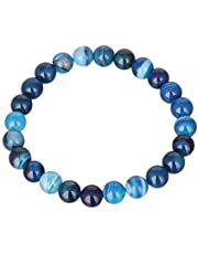 Bosideng Natural Stones Sardonyx Blue Stripe Agate Bracelets Round Beads Bangle Men Women Crystal Quartz Jewelry Love Energy Gift