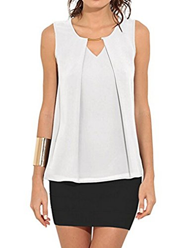 Halife Women's Summer Loose Fitting Casual Chiffon Sleeveless Tank Blouse Shirt Tops (S, White-2)