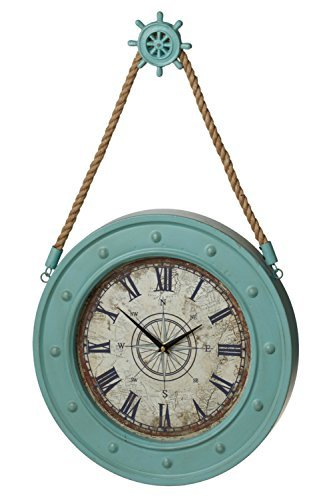 "MIDWEST-CBK Large 15.5"" Nautical Wall Clock with Ship Wheel Hanger - Measures 27 1/2 x 15 3/4 x 2 1/4 inches Made of painted metal, wood and jute rope Requires 1 AA battery, not included - wall-clocks, living-room-decor, living-room - 41i NJ8KAGL -"
