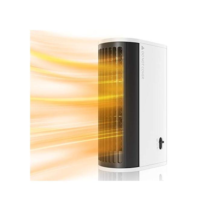 41i O2bpzdL ▶Buen Compañero de Invierno: Nuestro calentador de aire caliente está hecho de material ignífugo ABS y tiene un diseño de protección contra sobrecalentamiento, seguro de usar. Incluso en el frío invierno, puede disfrutar de un calor ilimitado. ▶Calentamiento Rápido y Ahorra Energía: Nuestro mini calentador genera calor a través del cable calefactor, que puede calentarse más rápido que los calentadores normales. Gracias a la potencia de hasta 500 vatios, el aire se calienta de manera eficiente y se puede tambien ahorrar electricidad. ▶Ultra Fácil de Usar: Con diseño de dos velocidades ajustables, fácil de operar. Presione el botón hacia la izquierda para encender el modo de calentar el aire; presione hacia la derecha para entrar el modo de calentar el aire + movimiento de cabeza.