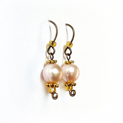 Genuine Pearl Earrings – Gold, Bronze, Pink, Blush, Rose – Handmade Petite, Dangle Drop Earrings, 8mm Cultured Pearls – Pearl Jewelry, Small  Light -…