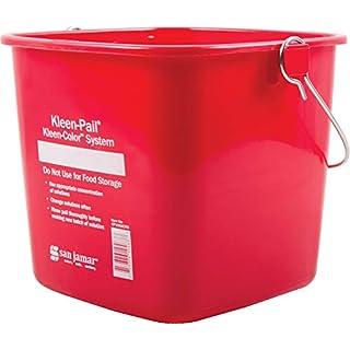 San Jamar KP196KCRD Kleen-Pail Commercial Cleaning Bucket, 6 Quart, Red