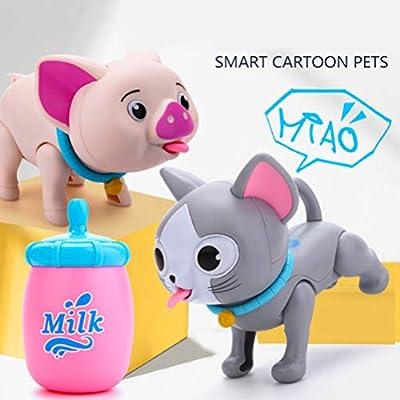 Toyvian Robot Cat Pet Toy Sucking Milk Robot Cat Dog Kitten Interactive Puppy Toy Drinking Milk for Toddler Children (Dog): Office Products