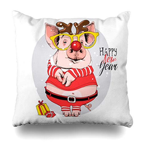 InterestDecor Throw Pillow Covers Pillowcase Holiday Pink Christmas Pig Santas Red Costume Deer Cute Mask Holidays Funny Adorable Cap Design Piggy Zippered Square Size 20 x 20 Inches Cushion Case -