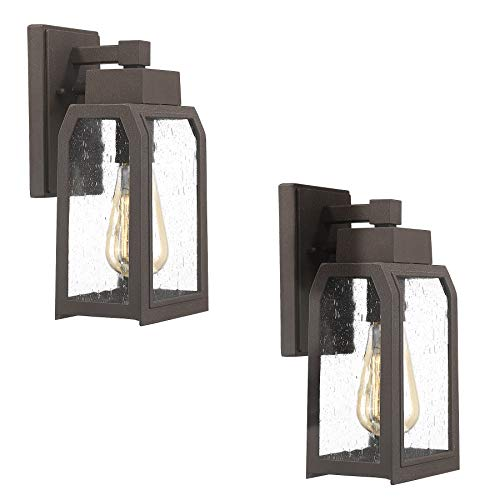(Emliviar Outdoor Porch Light Fixtures 2 Pack, Wall Sconce in Rustic Finish with Clear Seeded Glass Shade, 22030-2PK)
