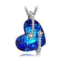"LadyColour Sterling silver ""Venus"" Bermuda Blue Heart Pendant Necklace Made with Swarovski Crystals"