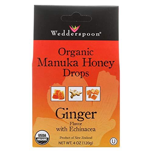 Wedderspoon Honey Drop Manuka Ginger Organic, 4 oz