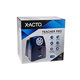 X-ACTO TeacherPro Classroom Electric Pencil Sharpener, SmartStop, Black