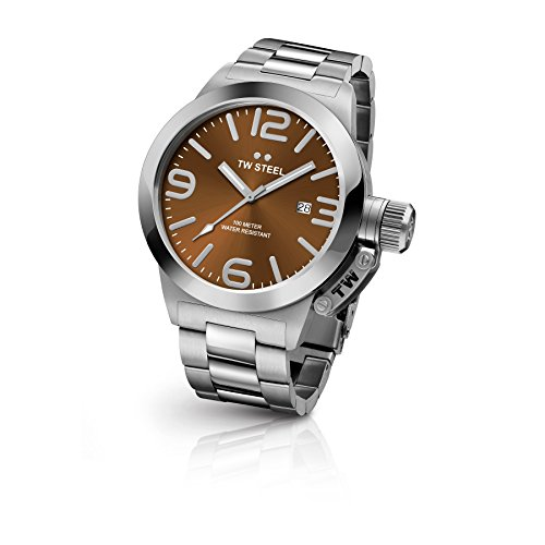 TW Steel CB22 Men's Canteen Bracelet Silver Band Brown Dial Watch