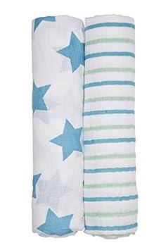 Lassig Baby Swaddle Burp Blankets 100% Cotton Muslin Pre-Washed, Big Elephant Boys, X-Large LMCVPL105