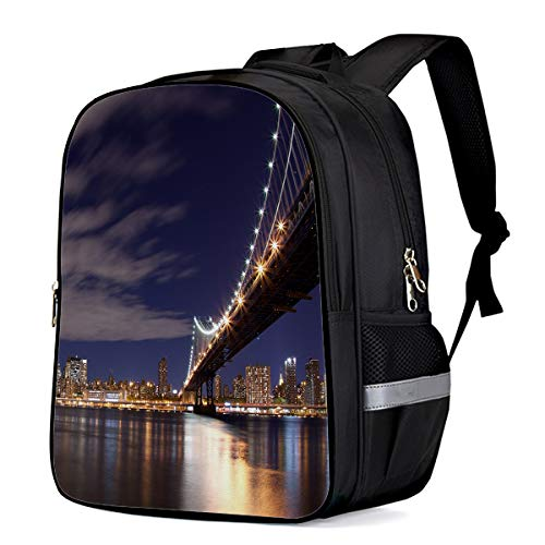 Durable Waterproof Kids Backpack Schoolbag, View Of San Francisco Bay Bridge California Usa Tourist Attraction Anti-Theft Travel Camping Lightweight Student Notebook Backpack for Boys/Girls/Sports