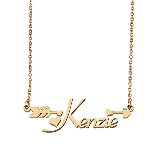 Aoloshow Customized Custom Name Necklace Personalized - Custom Lila Initial Name Arrow Horizontal Monogrammed Necklace Gift for Womens Girls - Lila Necklace Gold