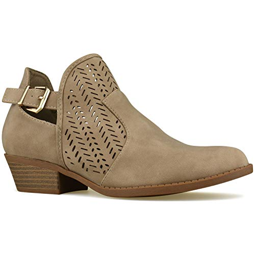 Premier Standard - Women's Strappy Buckle Closed Toe Bootie - Low Heel Casual Comfortable Walking Boot, TPS Booties-1Yvehc Khaki Size (Ankle Boots Jeans)