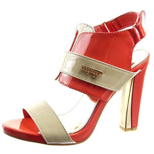 Sopily - Zapatillas de Moda Sandalias Tacón escarpín Abierto Caña baja mujer acabado costura pespunte metálico Talón Tacón ancho alto 10.5 CM - Rosa