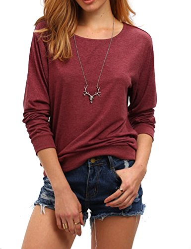 Haola Women's Long Sleeve Tops Round Neck Casual Teen Girls Tees Loose T Shirts S WineRed