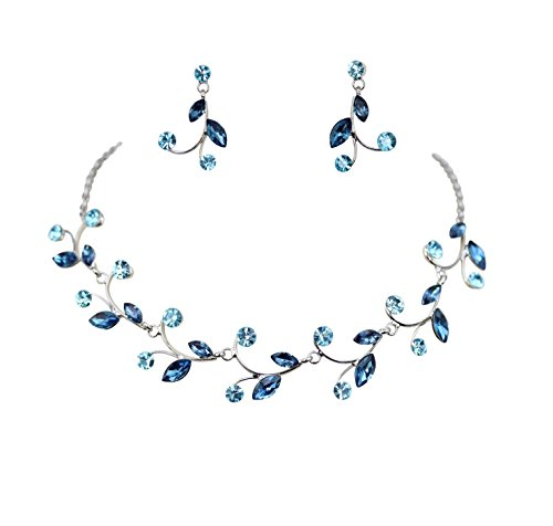 Faship Gorgeous Navy Blue Rhinestone Crystal Floral Necklace Earrings Set - Navy Blue