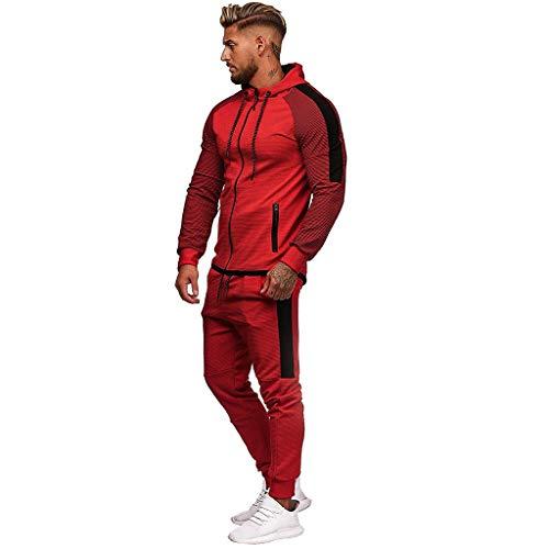 Sunmoot Mens Sport Sweat Sants Sweatshirt Suit, Slim Fit Zip Hoodie Jogging Pencil Pants Tracksuit Sets for Men 2 Pieces