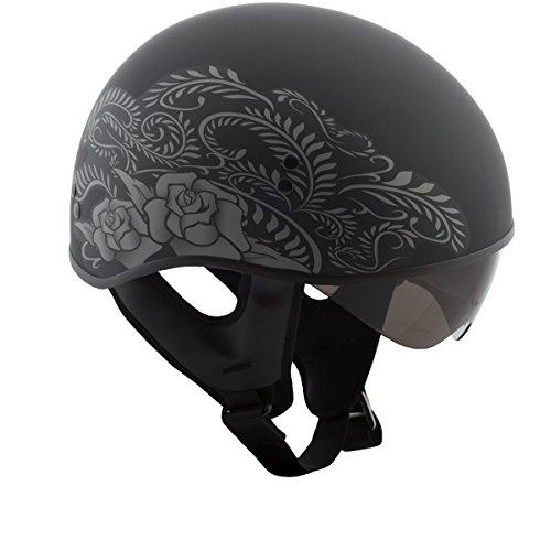 Street Helmet Flat - GMAX GM65 Naked Mens Half Face Street Motorcycle Helmet - Flat Black/Silver Small