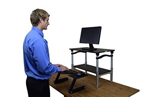 Stand Conversion Kit - Uncaged Ergonomics Lift Standing Desk Conversion Kit, Tall, Affordable, Ergonomic Adjustable Height Monitor Stand + Negative Tilt Keyboard Tray, Black + Silver (LSDbs)