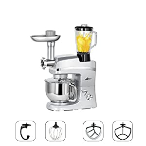 Litchi 5.3 Quart Stand Mixer, 6 Speed Tilt-Head Stand Mixer with Meat Grinder, Blender, Sausage Stuffer, Pasta Dies, Dough Hook, Mixing Blade, Flat Beater, Whisk and Pouring Shield, Silver