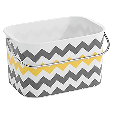 InterDesign Una Bathroom Tote Basket with Handle, Gray/Yellow Chevron