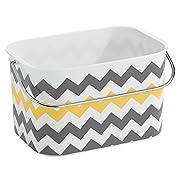 InterDesign Una Bathroom Tote Basket with Handle, Gray/Yellow Chevron