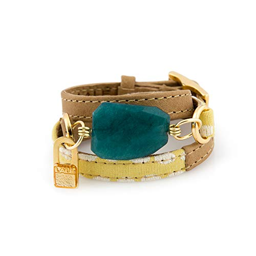 LALÉ Woman wrap Genuine laether and semiprecious Stone Bracelet | Twists Three Times Around The Wrist | Ironwork Plated in Gold Buckle | Adjustable Size | Handmade Jewelry (Yellow Dots, 6.5) (Around Wrap Buckle)