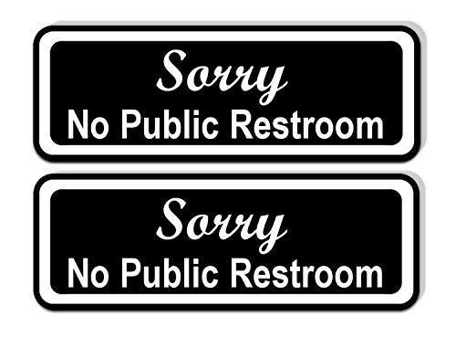 Sorry No Public Restroom Sticker for Doors and Businesses (Pack of 2) | Black and White Laminated Vinyl 7.75 x 2.5-inches | Retail Compliance Signs for Restaurants, Retail Stores, ()